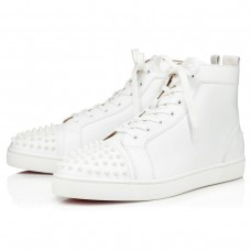 Christian LouboutinLou Spikes High Tops White/White Leather Shoes