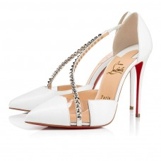 Christian Louboutin Spike Cross red Bottoms Bianco Silver Nappa Leather Shoes