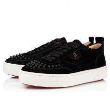 Christian Louboutin Happyrui Spikes Low Tops BLACK VEAU VELOURS Shoes