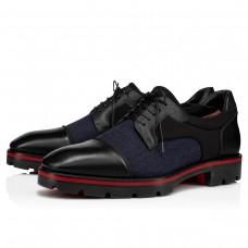 Christian Louboutin Mika Sky Derby BLUE/BLACK WOOL Shoes