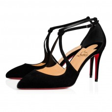 Christian Louboutin Alminetta red Bottoms Black Suede Shoes