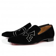 Christian Louboutin Dandylove Bordo red Bottoms Black Suede Shoes