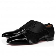 Christian Louboutin Greggo Orlato red Bottoms BLACK PAILLETTE Shoes