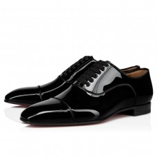Christian Louboutin Greggo Oxfords Black Patent Leather Shoes