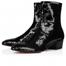 Christian Louboutin Jolly Ankle Boots Black Paillette Scallops Shoes