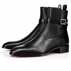 Christian Louboutin Kicko red Bottoms Black Leather Shoes