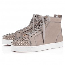 Christian Louboutin Lou Spikes Orlato High Tops Gres/Silver Suede Shoes