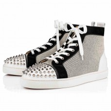 Christian Louboutin Lou Spikes Orlato High Tops Version Black Granariso Shoes