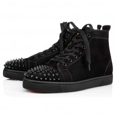 Christian Louboutin Lou Spikes red Bottoms Black/Black/Bk Suede Shoes
