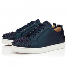 Christian Louboutin Louis Junior Spikes Orlato Low Tops BLUE CALF Shoes