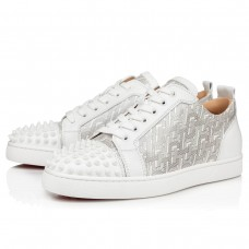 Christian Louboutin Louis Junior Spikes Low Tops White Patent Cl Shoes