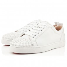 Christian Louboutin Louis Junior Spikes Low Tops White/White Leather Shoes