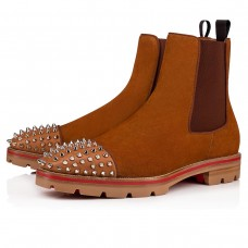 Christian Louboutin Melon Spikes Flat Ankle Boots Coconut Suede Shoes