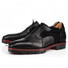 Christian Louboutin Mika Sky Derby Black Leather Shoes