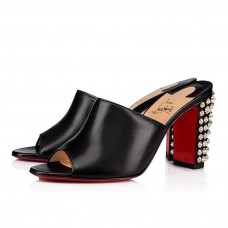 Christian Louboutin Mulondon red Bottoms Black Silver Leather Shoes
