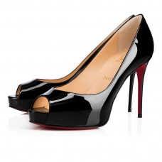 Christian Louboutin New Very Prive red Bottoms Black Patent Leather Shoes