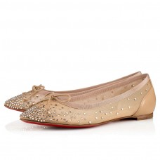 Christian Louboutin Patio Flat red Bottoms Version Nude 1 Strass Shoes