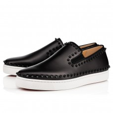Christian Louboutin Pik Boat Low Tops Black/Black Leather Shoes