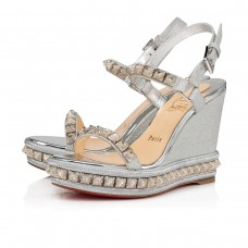 Christian Louboutin Pira Ryad wedges SILVER GLITTER MINI Shoes