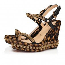 Christian Louboutin Pira Ryad wedges Version Black/Marron Soie Leo Shoes