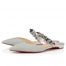 Christian Louboutin Planet Choc red Bottoms SILVER GLITTER Shoes