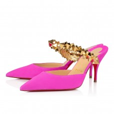Christian Louboutin Planet Choc Mules DIVA/GOLD VEAU VELOURS Shoes