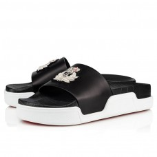 Christian Louboutin Pool Beau Donna Flat red Bottoms Black Silver Leather Shoes