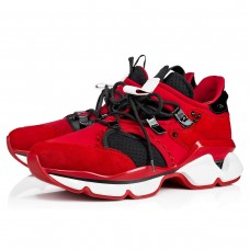 Christian Louboutin Red-Runner Men Runners Loubi Neoprene Shoes