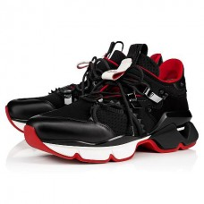 Christian Louboutin Red-Runner Men Runners Black Neoprene Shoes