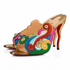 Christian Louboutin Thimpumule red Bottoms Version Multi Crepe Satin Shoes