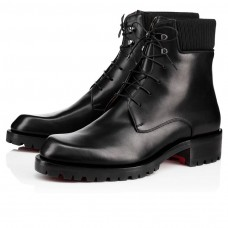 Christian Louboutin Trapman Ankle Boots Black Leather Shoes
