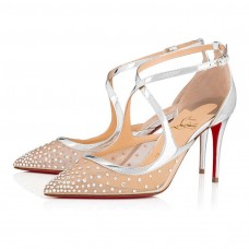 Christian Louboutin Twistissima Strass red Bottoms Version Silver Dentelle Shoes