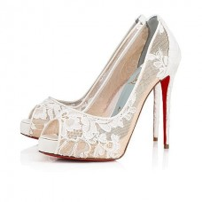 Christian Louboutin Very Lace platforms Off White Dentelle Lace Shoes